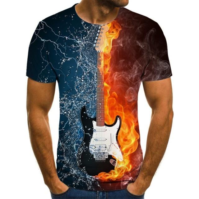 T-shirt Guitare enflammée